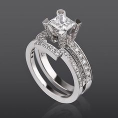 AUTHENTIC 2.25 CARAT PRINCESS ACCENTED DIAMOND WHITE GOLD WEDDING RING - Click to find out more - http://gioweddingrings.com/authentic-2-25-carat-princess-accented-diamond-white-gold-wedding-ring/ COMMENT.