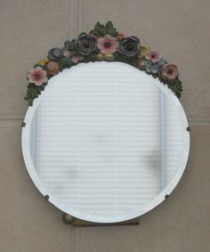 ANTIQUE VINTAGE ROUND MIRROR WITH FLOWER GARNISH ~ SOLD ON MY EBAY SITE LUBBYDOT1