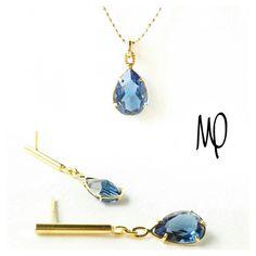 Colgante y Zarcillos - Gota cristal azul ahumado - Baño de oro - Cadena GoldFilled #cristal #crystal #cristales #crystals #azul #blue #pera #pear #lovely #loveit #jewelry #hechoamano #handmade  #fattoamano #faitmain #instagram #instaphoto #musthave #minimalistjewelry #minimalist #must