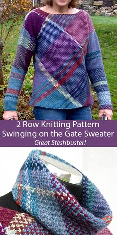 Mar 2020 - Knitting Pattern for Swinging on the Gate Sweater - Pullover with separate cowl knit in 2 row repeat linen stitch on the bias to form a large plaid design. Sizes to fit bust S: cm / in; Fair Isle Knitting Patterns, Sweater Knitting Patterns, Knitted Poncho, Knitted Blankets, Free Knitting, Poncho Sweater With Sleeves, Linen Stitch, Lace Patterns, Knit Crochet