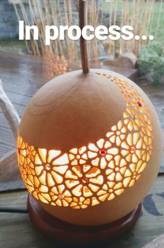 Best 12 Decorative light balls by Mo Keramik Ceramic Light, Ceramic Art, Diy Lampe, Dandelion Designs, Sculptures Céramiques, Gourd Lamp, Raku Pottery, Painted Gourds, Concrete Art