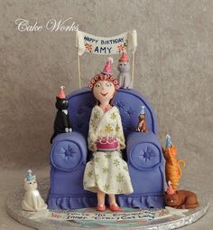40th Birthday Crazy Cat Lady Cake by cakeworks ★ More on #cats - Get Ozzi Cat Magazine here >> http://OzziCat.com.au ★