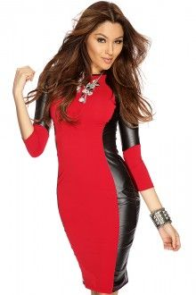 Red Faux Leather Knee Length Body Con Dress