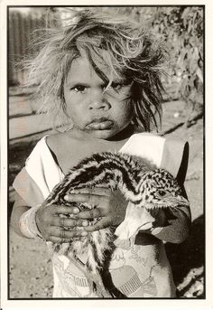 Australian Emu Chick held by Aboriginal Girl ~ Photography by Aliastair… Aboriginal History, Aboriginal Culture, Aboriginal People, Aboriginal Art, Aboriginal Children, Australian Aboriginals, Australian People, Indigenous Art, Old Photos