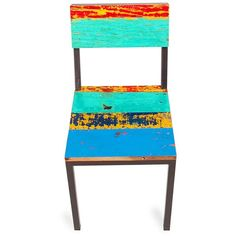 EcoChic Gangway Multicolor Reclaimed Wood and Iron Dining Chair ($318) ❤ liked on Polyvore featuring home, furniture, chairs, dining chairs, blue, reclaimed wood dining chairs, eco friendly furniture, blue dining chairs, reclaimed wood chairs and multi color chair