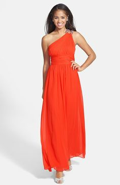 Hailey by Adrianna Papell Beaded One-Shoulder Chiffon Gown available at #Nordstrom