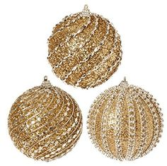 RAZ Imports - Gold Glittered Ball Ornaments - Set of 3 3 Assorted Gold Measures: Raz Imports Black Christmas Decorations, Whimsical Christmas, Gold Christmas, Christmas Balls, Christmas Colors, Christmas Tree Ornaments, Halloween Decorations, Christmas 2016, Christmas Crafts