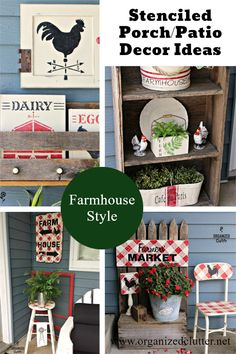 Garage sale and thrifted finds upcycled with paint and stencils decorate a summer covered patio! Upcycling Projects, Diy Upcycling, Diy Projects, Farmhouse Cafe, Farmhouse Style, Retro Home Decor, Vintage Decor, Harp Design Co, Easy Woodworking Projects