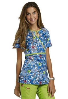 Dickies EDS Into The Flight keyhole mock wrap scrub top. - Scrubs and Beyond