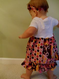 Take a onesie and you can either sew on a little skirt or you can create multiple skirts with elastic for the parent to choose what they want to use that day.