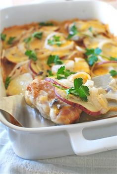 Pork Chop Casserole Recipe ~ Pan-seared pork, Thinly sliced potatoes and onions, Creamy filling, Topped with bubbling sharp cheddar.