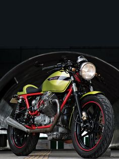 Moto Guzzi's iconic red and lime-green paint combination looks stunning on this V65-based cafe racer from Poland.
