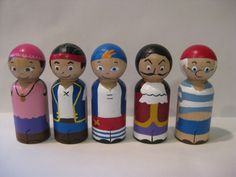 Pirates wood peg doll set