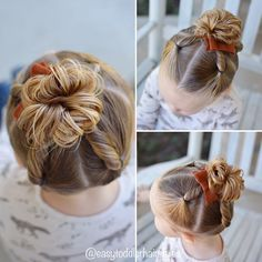 "285 Likes, 14 Comments - Tiffany ❤️ Hair For Toddlers (@easytoddlerhairstyles) on Instagram: ""This hairstyle is sectioned into 4 parts. Each part is twisted and brought into a middle messy bun.…"""