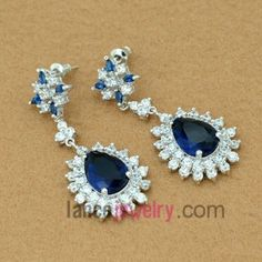 Nice drop earrings with blue color zirconia pendant $9