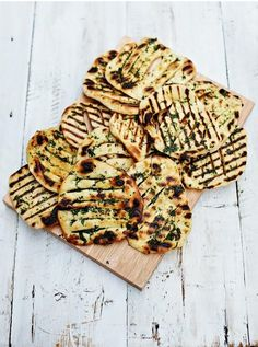 Easy flatbreads   Jamie Oliver bbq: For the flatbreads: 350 g self-raising flour, plus extra for dusting sea salt 1 teaspoon baking powder 350 g natural yoghurt #food #recipes #cooking #diner