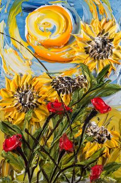 Justin Made by Hand 24×36  Group of Yellow Sunflowers with Red Poppies on Light Blue Textural