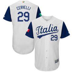 Men's Italy Baseball #29 Francisco Cervelli Majestic White 2017 World Baseball Classic Authentic Jersey