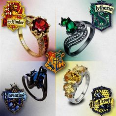 Ok I'm a Hufflepuff, but the Slytherin and especially the Ravenclaw ones look beautiful Harry Potter Ring, Anillo Harry Potter, Harry Potter Schmuck, Bijoux Harry Potter, Harry Potter Tumblr, Harry Potter Outfits, Harry Potter Anime, Harry Potter Pictures, Harry Potter Fandom