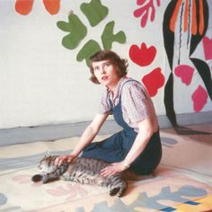 """ Henri Matisse's studio assistant Annelies Nelck with tracing of Apollo on the floor of the Hôtel Régina, Nice, c. 1953. """