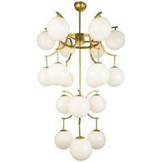 Mid-Century Modern Murano Glass Globe Chandelier | From a unique collection of antique and modern chandeliers and pendants at https://www.1stdibs.com/furniture/lighting/chandeliers-pendant-lights/