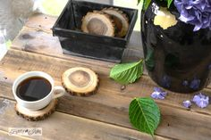 Wood slice coasters