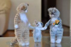 Купить СЕМЬЯ Вязаные кошки - кот, котики, Кошки, коты и кошки, кот из шерсти