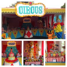Circus birthday party Circus First Birthday, Carnival Birthday Parties, First Birthday Parties, Birthday Party Themes, First Birthdays, Birthday Ideas, Circus Carnival Party, Circus Theme Party, Carnival Themes