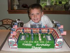Homemade Football Stadium Birthday Cake: I made this Football Stadium Birthday Cake for my grandson's birthday. He is a huge New England Patriots fan so I thought he would love this stadium Football Birthday Cake, 13 Birthday Cake, Homemade Birthday Cakes, 10th Birthday, Homemade Cakes, Football Cakes For Boys, Birthday Ideas, Rugby, Football Stadiums