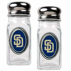 MLB San Diego Padres Salt and Pepper Shaker Set with Crystal Coat by Great American Products. $13.69. An absolute essential for tailgating, the kitchen, picnicking or a back yard BBQ.. This salt & pepper shaker set is constructed of heavy-duty square glass and stainless steel screw-on tops.. Save 32%!