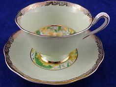 Royal Albert Crown China Tea Cup & Saucer Green, Yellow Flowers & Gold Trim