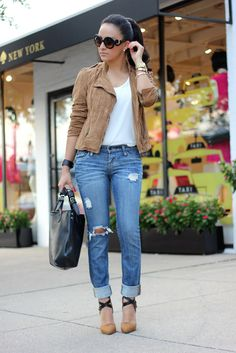 """Jacket: Forever 21 (Similar) Silky top: old (Similar) Distressed Jeans: old (Similar) Shoes: c/o Shoedazzle """"Nardith"""" Bag: c/o Boohoo(Here..."""