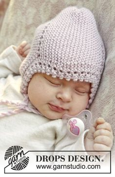 "Lullaby by DROPS Design Knitted DROPS hat in garter st with picot edge, in ""Karisma"". Sizes: 0 to 4 years."