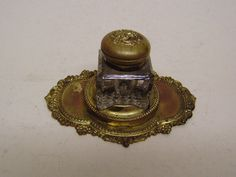 Vintage Art nouveau brass &gilt top glass inkwell Pens&Writing Equipment Inkwell in Collectables, Pens & Writing Equipment, Inkwells   eBay