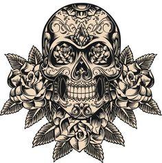 """Tradicionalmente, los tatuajes (tattoo) de calaveras mexicanas han simbolizado la muerte con una """"M"""" mayúscula, ¡pero no de una manera siniestra o negativa! Si hay un hecho innegable en este planeta, es que ningún ser humano escapa de la Parca, por rico o famoso que sea.! Rose Illustration, Calaveras Mexicanas Tattoo, Tatuajes Tattoos, Skulls And Roses, Floral, Colorful Tattoos, Type Tattoo, Mexican, Art"""
