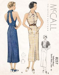 McCall 8257 dress vintage sewing pattern reproduction - An elegant sports dress in two styles. Kick pleat detail at center front and back skirt, closely fitted silhouette, front button closure, optional collar 1930s Fashion, Retro Fashion, Vintage Fashion, Ladies Fashion, Women's Fashion, Fashion Ideas, Fashion Trends, Vintage Outfits, Vintage Dresses