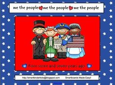 We the People - President's Day Smartboard - 23 slides to get your kids excited about President's Day!  Graphic organizers, game pages, fact sheets, as well as math and language related pages