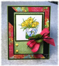 The Inking Spot of Crain Creations by Tangii Crain. Crocus Jug by Just Inklined stamps. #cards, #copics, #stamping, #Spring, #flowers