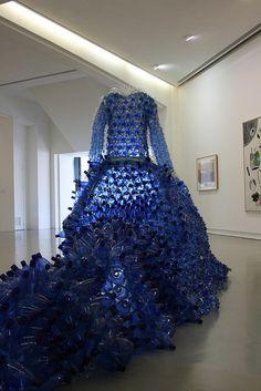 Blue Plastic Bottle Dress  #PlasticArts