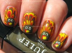 thanksgiving nails - marble turkey