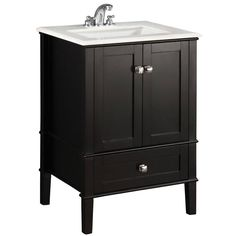 """Simpli Home Chelsea 24"""" Bath Vanity in Black - Countertop Included NL-ROSSEAU-ES-24-2A"""