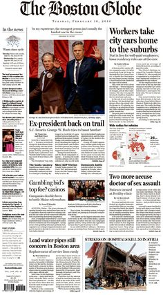 #20160216 #USA #Boston #MASSACHUSETTS #TheBostonGlobe Tuesday FEB 16 2016 http://www.newseum.org/todaysfrontpages/?tfp_show=80&tfp_page=4&tfp_id=MA_BG
