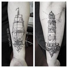 Done at @toe_loop_tattoo_berlin #nouvellerita #ship #lighthouse #tattoo #linework #blackworkers