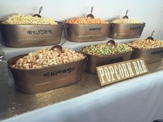 Saw this on the sweet buffet lady rentals page! Visit our site at www. Wedding Snack Bar, Wedding Popcorn Bar, Wedding Reception Food, Wedding Catering, Buffet Wedding, Wedding Ideas, Flavored Popcorn, Food Stations, Dessert Table