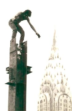 Kahnawake Mohawk iron worker atop a column in NYC in the 1960s. (source)