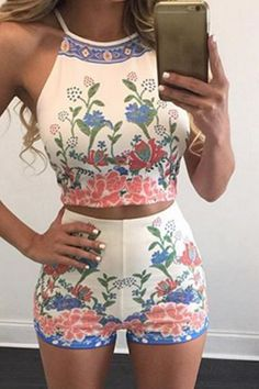 hot print two piece flower suit
