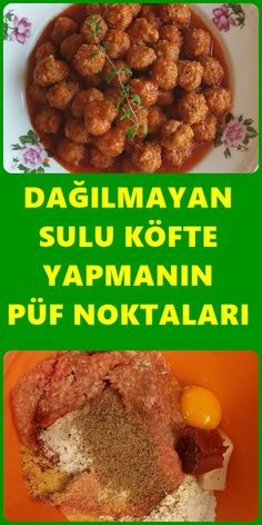 Spattered Juicy Meatballs Recipe-Dağılmayan Sulu Köfte Tarifi There are 3 different methods with juicy meatball recipe. The most important trick of the meatball is to make an irresistible juicy meatball. # Disperse the - Juicy Meatball Recipe, Meatball Recipes, Salad Recipes, Dog Food Recipes, Healthy Eating Tips, Healthy Nutrition, Turkish Kitchen, Potluck Dishes, Vegetable Drinks