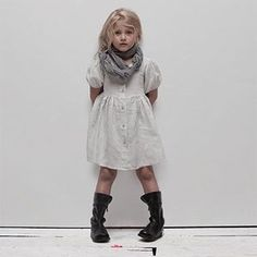 Linen Kids Stella Dress from MATTEO collection from Oh Baby! Available in Black, Celedon, Cloud, Coal, Earth, Greige, Lo