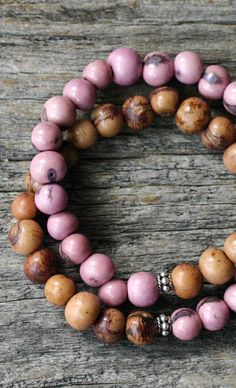 Pink Brown Bohemian Stacking Bracelet in Bali Sterling