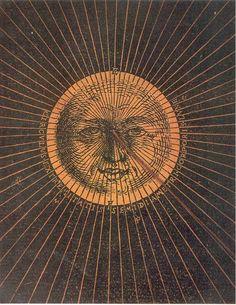 Detalhe decorativo de um documento de cálculo para determinar o tamanho da sombra da Terra na Lua durante um eclipse lunar. Feito no ano de 1540, três anos antes da publicação do livro de Copérnico, e trinta e um antes do nascimento de Johan-nes Kepler. Do Astronomicum Caesarium, de Petrus Apianus, Ingolstadt, Alemanha.